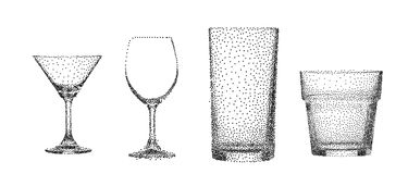 Abstract stipple transparent glass cup isolated vector objects c. Ollection set can be used for both print and web page Stock Photos