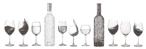 Abstract stipple wine glass isolated vector objects collection s. Et can be used for both print and web page Stock Photos