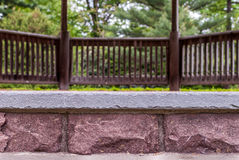 Abstract stone steps of gazebo with blurry background. Stock Images