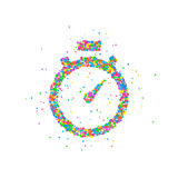 Abstract stopwatch splash. Multicolored circles. Vector illustration Stock Image