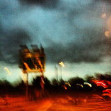 Abstract & Stormy Skies in London's East End. Black clouds gather over Blackwall in East London Stock Photo