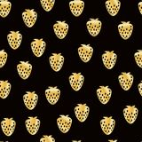 Abstract strawberry seamless pattern. Gold glittering background. Hand painted illustration. Eps10 royalty free illustration