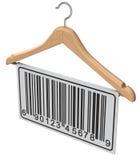 Abstract streepjescodeetiket op houten hanger Stock Afbeelding