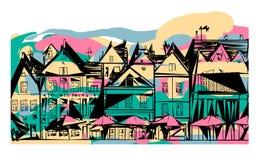 Abstract street houses dutch umbrellas royalty free illustration