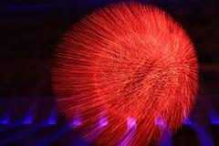 Abstract street illumination. Christmas street illumination - sphere of LED lights in motion Royalty Free Stock Images