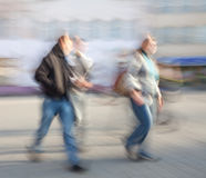 Abstract street scene with intentional motion blur. Royalty Free Stock Photography