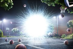 Abstract streetball court background in lights Stock Photos