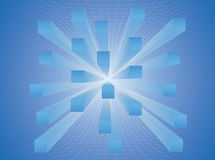 Abstract stretched cubes in the blue space Stock Photos