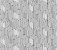 Abstract Striped 3d Cubes Geometric Seamless Pattern In Black And White, Vector Stock Photography