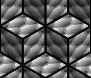 Abstract Striped 3D Hexagons Geometric Vector Seamless Pattern. Background Stock Photography