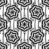 Abstract striped floral vector seamless pattern. Black and white ornamental geometric background. Vertical stripes, shapes, flowers. Monochrome decorative royalty free illustration
