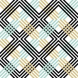 Abstract striped geometric pattern with lines and grids. Seamless retro colored background in black, blue and gold colors. Abstract striped geometric pattern vector illustration