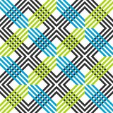 Abstract striped geometric pattern with lines and grids. Seamless vibrant colored background in dark grey, blue and green colors stock illustration