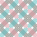 Abstract striped geometric pattern with lines and grids. Seamless vibrant colored background in pink, grey, white and blue color royalty free illustration