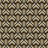 Abstract striped geometric seamless pattern. Modern vector black. And gold honeycomb background. Luxury 3d wallpaper. Surface ornamental texture. Stylish design Stock Photos