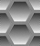 Abstract Striped Hexagons Geometric Vector Seamless Pattern Royalty Free Stock Images