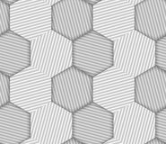 Abstract Striped Hexagons Geometric Vector Seamless Pattern Royalty Free Stock Image