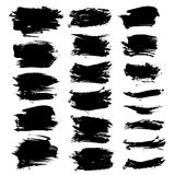 Abstract strokes thick black paint big set Stock Photos