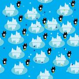 Abstract structure. With penguins and icebergs. Vector illustration Stock Images