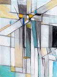 Abstract study in charcoal and pastel. Crucifix theme Royalty Free Stock Photo
