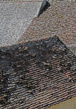 Abstract study of roofing,tiles etc. Abstract shapes and textures of slate roofing and chimneys Stock Image