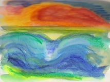 Abstract style brightly coloured sketch of the sea and sky. An abstract style sketch of a sunset over the sea. Expressive lines in bright colours show a red Royalty Free Stock Images