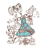 Abstract style illustration girl. Stock Image