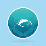 Abstract Styling Fish Label Isolated On Background Royalty Free Stock Images