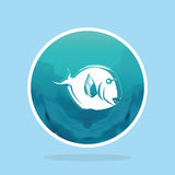 Abstract Styling Fish Label Isolated On Background Stock Image