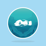 Abstract Styling Fish Label Isolated On Background Royalty Free Stock Photos
