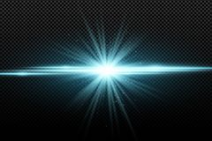 Abstract stylish light effect on a transparent background. Bright glowing star. Bright flares. Blue rays. Explosion. Vector illust. Ration. EPS 10 Stock Illustration