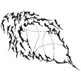 Abstract stylized B&W blob pointer Stock Photo