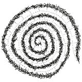 Abstract stylized B&W caterpillar spiral Stock Image