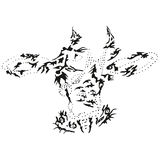 Abstract stylized B&W cow head Royalty Free Stock Image