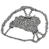 Abstract stylized B&W hide or fleece in chains Royalty Free Stock Photo