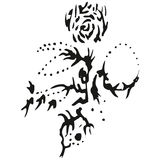 Abstract stylized B&W rose on stalk Royalty Free Stock Photo