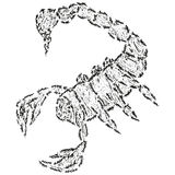 Abstract stylized B&W scorpion Royalty Free Stock Photo