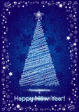 Abstract stylized christmas tree on blue snowy background for postcards Stock Image