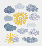 Abstract Stylized Cloud Blue Sky and suns. Vector Royalty Free Stock Images