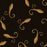 Abstract stylized cockroaches pattern. Hand drawn beetles background. Insects gold texture. Royalty Free Stock Photography