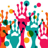 Abstract stylized colorful hands up, vector seamless background Stock Image