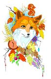 Abstract stylized cute fox with autumn decorations and leaves vector illustartion isolated Royalty Free Stock Image