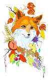 Abstract stylized cute fox with autumn decorations and leaves vector illustartion isolated Royalty Free Stock Photo