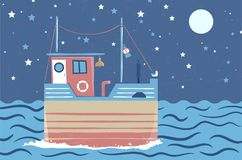 Abstract stylized drawing of ship at sea under night sky Royalty Free Stock Photos