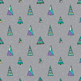 Abstract stylized fir tree seamless pattern. Stock Photos