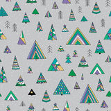 Abstract stylized fir tree seamless pattern. Hand drawn winter forest  illustration. Winter background Royalty Free Stock Photo