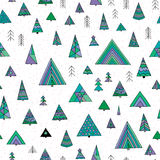 Abstract stylized fir tree seamless pattern. Hand drawn winter forest  illustration. Winter background Stock Photo