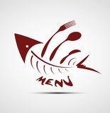 Abstract stylized fish menu for restaurant. Background Royalty Free Stock Image