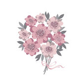 Abstract stylized floral. abstract wedding bouquet. With rosy color camellia with gray leaves. vector illustration for invitation, greetings, cards. elegant royalty free illustration