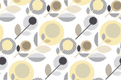 Abstract stylized floral. Creative pale color sixties seamless pattern. modern textured  geometry flower vector illustration. pastel gray and beige daisy in Royalty Free Stock Images